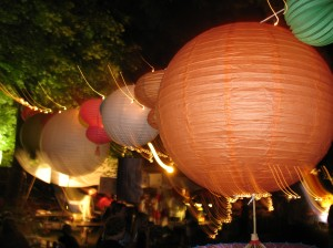 Lanterns lit up at night in Spades Park