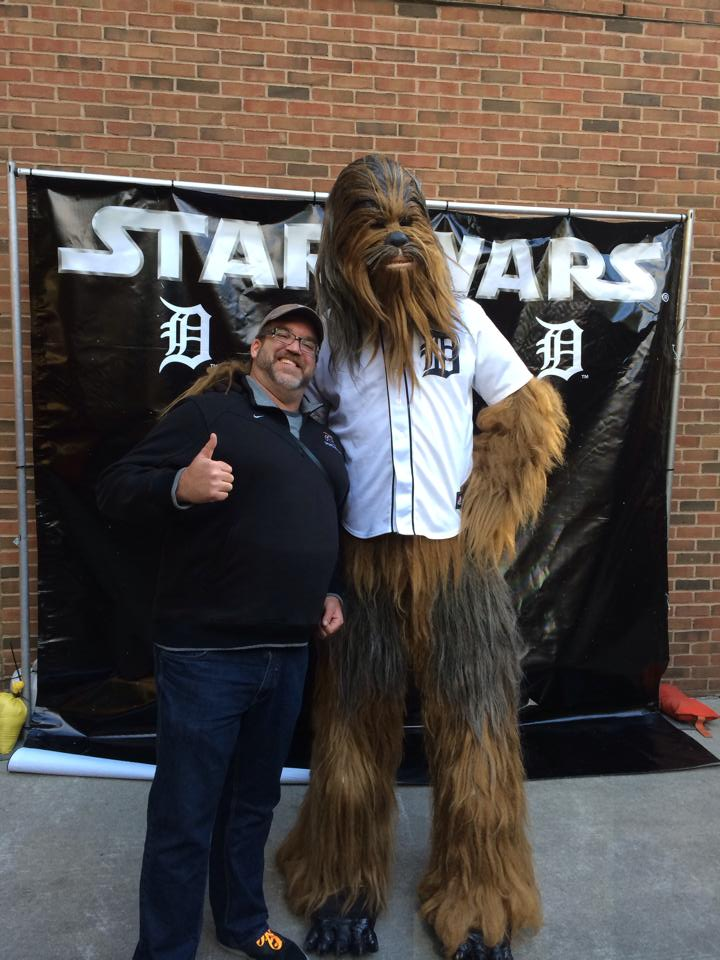 Having fun at Star Wars night with Chewbacca the Wookie.