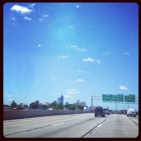 Downtown Indianapolis skyline from I-70 East.