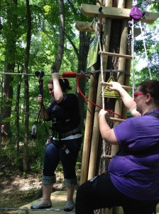 Slick Laroo and McCully train to start the Go Ape course. DoItIndy!