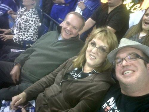 Hanging out with my parents at an Indianapolis Colts game in 2012.