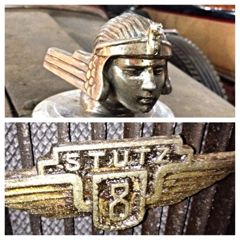 Stutz 8 being restored by Kent Riddle. Hood Ornament and Stuitz emblem on front grill